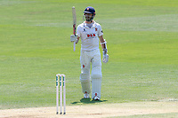 James Foster of Essex celebrates scoring a half-century, 50 runs during Essex CCC vs Warwickshire CCC, Specsavers County Championship Division 1 Cricket at The Cloudfm County Ground on 20th June 2017