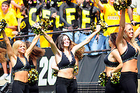 06 September 08: Colorado cheerleaders perform during a game against Eastern Washington. The Colorado Buffaloes defeated the Eastern Washington Eagles  31-24 at Folsom Field in Boulder, Colorado. FOR EDITORIAL USE ONLY