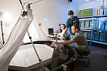 0711-34 003.CR2.College of Life Sciences.Dr. Mark Belk's lab.Melina Williamson, John Aedo (blue), Eric Billman (gray)..November 12, 2007..Photography by Mark A. Philbrick..Copyright BYU Photo 2007.All Rights Reserved .photo@byu.edu  (801)422-7322