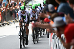 Team Dimension Data in action during Stage 2 of the 2019 Tour de France a Team Time Trial running 27.6km from Bruxelles Palais Royal to Brussel Atomium, Belgium. 7th July 2019.<br /> Picture: ASO/Pauline Ballet | Cyclefile<br /> All photos usage must carry mandatory copyright credit (© Cyclefile | ASO/Pauline Ballet)