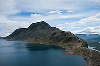 View of Besseggen ridge and Bessvatnet lake, Jotunheimen national park, Norway