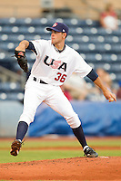 Sean Gilmartin #36 of Team USA in action against Team Korea at Durham Bulls Athletic Park July 18, 2010, in Durham, North Carolina.  Photo by Brian Westerholt / Four Seam Images
