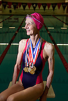 04032012-  Seattle University alum Suzie Aldrich, 69, of Walla Walla, Wash has won 11 gold medals and set 11 new record setting times this last year while competing in the seniors backstroke in Eastern Washington and Alaska. Aldrich graduated in 1986 from Seattle U with a degree in ciminal justice.