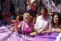 ATENCAO EDITOR: FOTO EMBARGADA PARA VEICULOS INTERNACIONAIS. - SAO PAULO, SP, 10 DE SETEMBRO 2012 - ELEICOES 2012 -  FERNANDO HADDAD  - 0 Candidato do PT a prefeitura de Sao Paulo, participou da Caminhada do Dia Lilás com mulheres, pelas ruas do centro da capital paulista - segunda-feira, 10  - FOTO LOLA OLIVEIRA - BRAIL PHOTO PRESS
