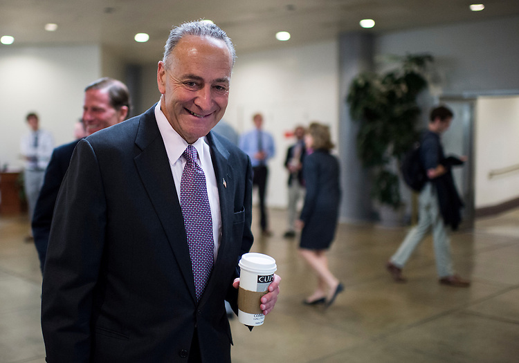 UNITED STATES - JULY 17: Sen. Charles Schumer, D-N.Y., arrives in the Capitol via the Senate subway on Wednesday, July 17, 2013. (Photo By Bill Clark/CQ Roll Call)