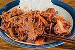 Korean Pork Bulgogi with rice. ©2016. Jim Bryant Photo. All Rights Reserved.