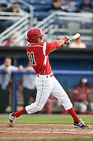 Batavia Muckdogs shortstop Aaron Blanton (11) at bat during a game against the Auburn Doubledays on June 16, 2014 at Dwyer Stadium in Batavia, New York.  Batavia defeated Auburn 4-3.  (Mike Janes/Four Seam Images)