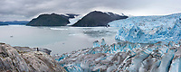 The tidewater face of Chenega Glacier, which flows out of the Sargent Ice Field, Nassau Fjord, Chugach National Forest, Kenai Peninsula, southcentral, Alaska.