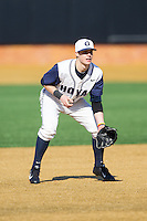 Georgetown Hoyas third baseman Curtiss Pomeroy (7) on defense against the Marshall Thundering Herd at Wake Forest Baseball Park on February 15, 2014 in Winston-Salem, North Carolina.  The Thundering Herd defeated the Hoyas 5-1.  (Brian Westerholt/Four Seam Images)