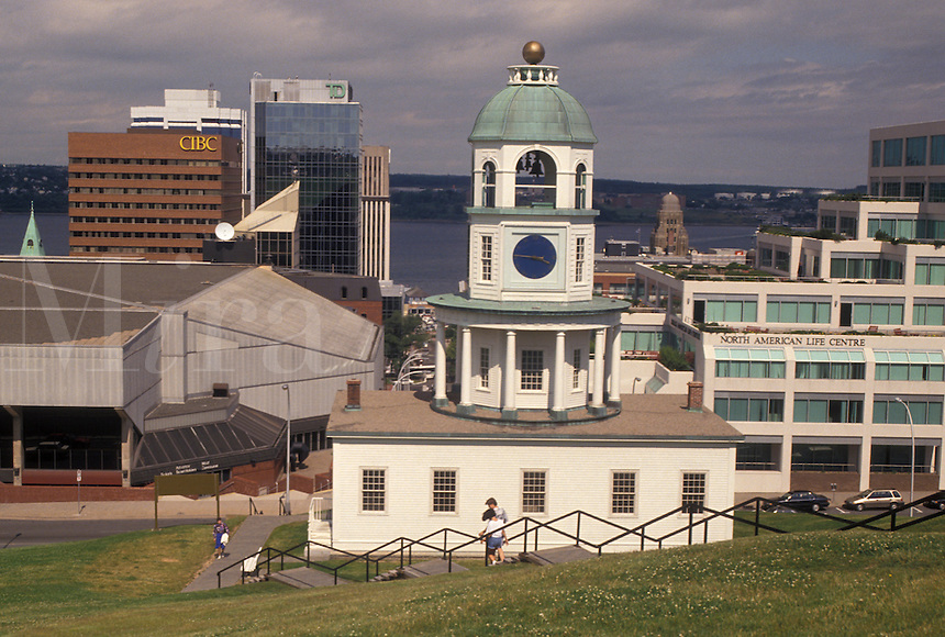 clock, Halifax, Nova Scotia, NS, Canada, Historic Town Clock ca. 1803 and downtown skyline of Halifax in Nova Scotia.