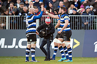 Elliott Stooke of Bath Rugby celebrates his first half try with team-mate Matt Garvey. Aviva Premiership match, between Bath Rugby and Harlequins on November 25, 2017 at the Recreation Ground in Bath, England. Photo by: Patrick Khachfe / Onside Images