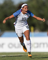 Bradenton, FL - Sunday, June 10, 2018: Mia Fishel, goal celebration during a U-17 Women's Championship match between the United States and Haiti at IMG Academy.  USA defeated Haiti 3-2 to advance to the finals.