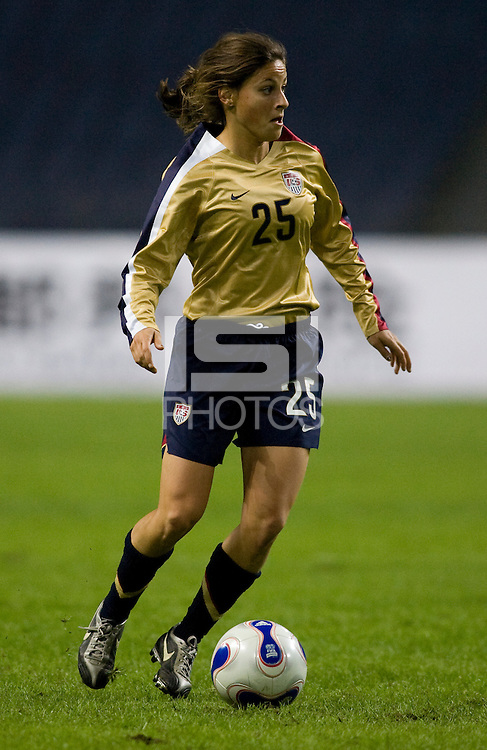 USWNT forward (25) Tina DiMartino sprints downfield during the Four Nations Tournament in  Guangzhou, China.  The US defeated Finland, 4-1.