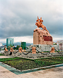 MONGOLIA, Chinggis Khan statue against cloudy sky, Ulaanbaatar