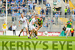 Anthony Maher, Kerry in action against Paul Cribbin,  Kildare in the All Ireland Quarter Final at Croke Park on Sunday.