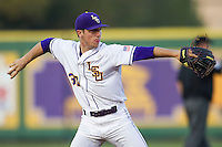 LSU Tigers shortstop Alex Bregman #30 makes a throw to first base against the Auburn Tigers in the NCAA baseball game on March 22nd, 2013 at Alex Box Stadium in Baton Rouge, Louisiana. LSU defeated Auburn 9-4. (Andrew Woolley/Four Seam Images).