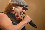 AC/DC singer Brian Johnson gives it his all during the band's stop at the Toyota Center Sunday Dec. 14, 2008. (Dave Rossman for the Chronicle)