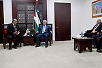 Palestinian President Mahmoud Abbas meets with a delegation from the international and arab Taekwondo union, in the West Bank city of Ramallah on September 29, 2017. Photo by Osama Falah