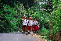 School children walking down road, near Tagalalang, near Ubud, Bali, Indonesia