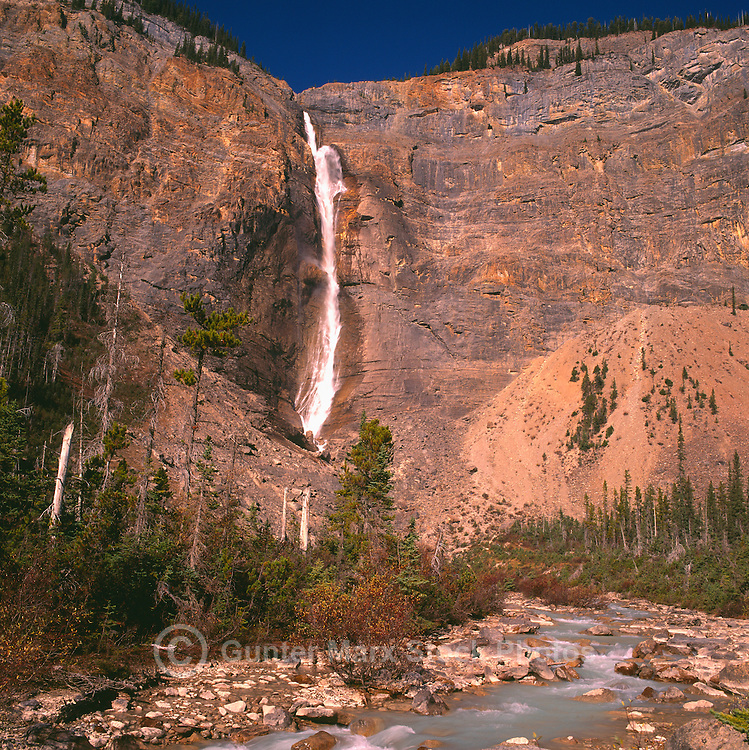 Yoho National Park, Canadian Rockies, BC, British Columbia, Canada - Takakkaw Falls and Yoho River, Summer