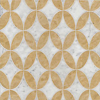Audrey, a stone water jet mosaic, shown in Carrara and Renaissance Bronze, is part of the Ann Sacks Beau Monde collection sold exclusively at www.annsacks.com