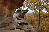 Shawnee National Forest, IL<br /> Dramatic sandstone formations surrounded by the autumn forest -  Observation Trail, Garden of the Gods Recreation Area