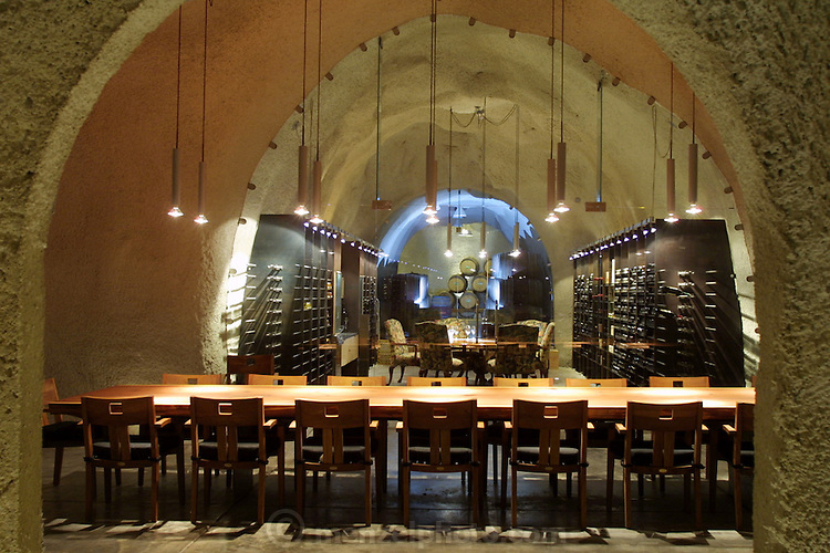 Wine tasting in the Rudd Estate wine cave, Oakville, Napa Valley, California.