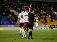 12th February 2020; McDairmid Park, Perth, Perth and Kinross, Scotland; Scottish Premiership Football, St Johnstone versus Motherwell; Referee Nick Walsh red cards Christy Manzinga of Motherwell in the 83rd minute