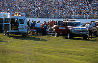 Dale Earnhardt Crash Frame 10.Rescue presonel work to remove Earnhardt from his car..NASCAR Winston Cup Daytona 500 18 Feb.2001 Daytona International Speedway, Daytona Beach,Florida,USA .© F. Peirce Williams .photography 2001....F.Peirce Williams Photography.P.Box 455 Eaton, OH 45320.317.358.7326  fpwp@mac.com