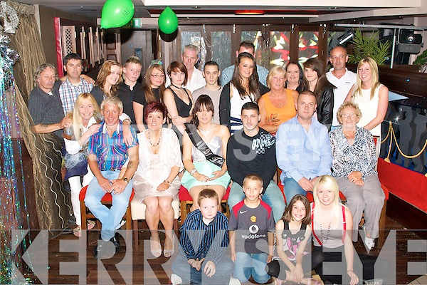 KEY TO THE DOOR: Natasha Brosnan, Ashgrove, Tralee (seated centre) enjoying a great time celebrating her 21st birthday with family and friends at Abbey Inn, Tralee on Saturday.