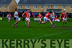 St Marys Niall O'Driscoll gets in front of Corofins Fionn Clancy and diverts this cross into the square to the back of the net for St Marys first of 4 goals in the Intermediate Semi Final held in The Con Keating Park in Cahersiveen on Saturday.
