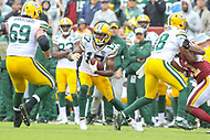 Landover, MD - September 23, 2018: Green Bay Packers wide receiver Davante Adams (17) runs after catching a pass during the  game between Green Bay Packers and Washington Redskins at FedEx Field in Landover, MD.   (Photo by Elliott Brown/Media Images International)