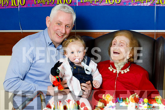 Joan Hayes celebrating her 100th birthday in the Oaklands Nursing Home in Listowel on Thursday with her grand son Colman Flaherty and great grand daughter Aoife Flaherty