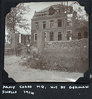 BNPS.co.uk (01202 558833)<br /> Pic: Tooveys/BNPS<br /> <br /> 'Army Corp HQ, hit by German shells in 1914'<br /> <br /> Incredibly rare 'action' shots from the Great War come to light...<br /> <br /> The harrowing photos, taken in the middle of an Allied offensive, show soldiers charging into action and bodies strewn on the battlefield.<br /> <br /> The dramatic photos were taken during fierce fighting with the Germans on the Western Front in late 1914.<br /> <br /> The images appear to show a more fluid and fast moving stage of the conflict before both sides became bogged down in the relentless trench warfare of later years.<br /> <br /> One captures the 'Leicester's suprising the Hun' showing the regiment in full flight as they launch a surprise attack on their German adversaries.