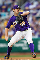 LSU Tigers pitcher Alex Lange (35) delivers a pitch to the plate during a Southeastern Conference baseball game against the Texas A&M Aggies on April 24, 2015 at Alex Box Stadium in Baton Rouge, Louisiana. LSU defeated Texas A&M 9-6. (Andrew Woolley/Four Seam Images)
