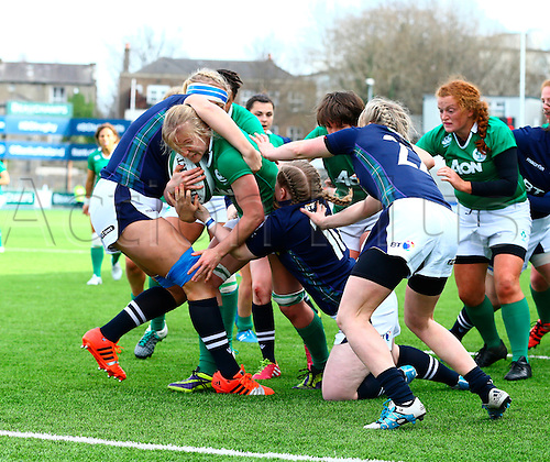 20.03.2016. Donnybrook, Dublin, Ireland. RBS Womens Six Nations Championships. Ireland versus Scotland.<br /> Claire Molloy (Ireland) drives for the try line.