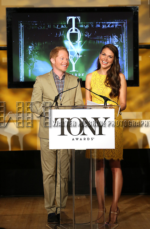 Jesse Tyler Ferguson & Sutton Foster announce the 2013 Tony Award Nominations at The New York Public Library for Performing Arts in New York on 4/30/2013...
