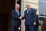 President of the French National Assembly Claude Bartolone welcomes Palestinian president Mahmoud Abbas on September 19, 2014 in Paris, as part of Abbas' two-day visit to France. Abbas is in Paris before heading to New York, where he will attend the UN General Assembly, which opens on September 24, his spokesman Nabil Abu Rudeina told. Photo by Thaer Ganaim