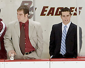 Justin Greene and Pat Gannon watch warmups - Boston College defeated Merrimack College 3-0 with Tim Filangieri's first two collegiate goals on November 26, 2005 at Kelley Rink/Conte Forum in Chestnut Hill, MA.