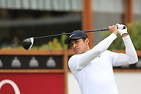 Julian Suri (USA) tees off the 1st tee during Saturday's Round 3 of the 2017 Omega European Masters held at Golf Club Crans-Sur-Sierre, Crans Montana, Switzerland. 9th September 2017.<br /> Picture: Eoin Clarke | Golffile<br /> <br /> <br /> All photos usage must carry mandatory copyright credit (&copy; Golffile | Eoin Clarke)