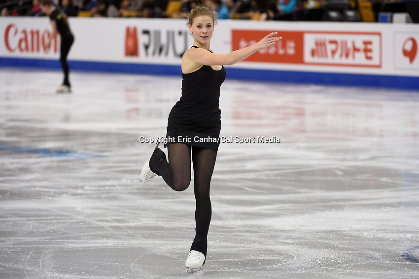 Tuesday, March 29, 2016: Laurine LeCavelier of France skates during a practice session at the International Skating Union World Championship held at TD Garden, in Boston, Massachusetts. Eric Canha/CSM