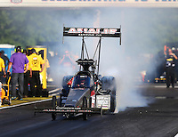 May 13, 2016; Commerce, GA, USA; NHRA top fuel driver Terry McMillen during qualifying for the Southern Nationals at Atlanta Dragway. Mandatory Credit: Mark J. Rebilas-USA TODAY Sports