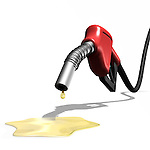 Last drops of gasoline coming out of a gas station nozzle. Isolated illustration on white background.