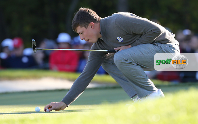 Matthew Fitzpatrick (Team Europe) during the Saturday Morning Foursomes, at the 41st Ryder Cup 2016, at Hazeltine National Golf Club, Minnesota, USA.  01View of the 10th2016. Picture: David Lloyd | Golffile.