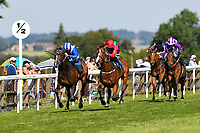 Winner of The H S Lester Memorial Handicap (Class 4)  Okool ridden by Jim Crowley and trained by Owen Burrows during Whitsbury Manor Stud Bibury Cup Day Racing at Salisbury Racecourse on 27th June 2018