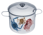 X-ray image of a pot of crabs (color on white) by Jim Wehtje, specialist in x-ray art and design images.