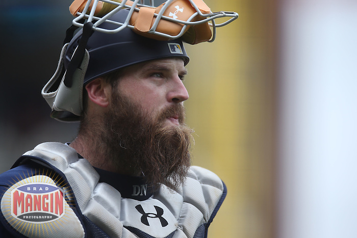 SAN FRANCISCO, CA - MAY 25:  Derek Norris #3 of the San Diego Padres works behind the plate against the San Francisco Giants during the game at AT&T Park on Wednesday, May 25, 2016 in San Francisco, California. Photo by Brad Mangin