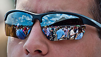 SARATOGA SPRINGS, NY - AUGUST 26: A fan watches a race on the undercard on Travers Stakes day at Saratoga Race Course on August 26, 2017 in Saratoga Springs, New York. (Photo by Scott Serio/Eclipse Sportswire/Getty Images)
