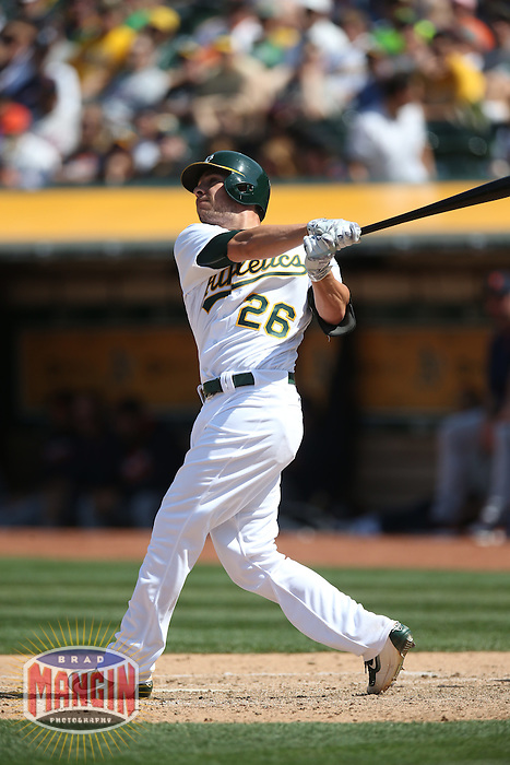 OAKLAND, CA - MAY 28:  Danny Valencia #26 of the Oakland Athletics bats against the Detroit Tigers during the game at the Oakland Coliseum on Saturday, May 28, 2016 in Oakland, California. Photo by Brad Mangin