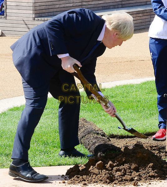Boris Johnson, officially opens new Mandeville Place Orchard to mark the start of London Tree Week, at Queen Elizabeth Olympic Park.<br /> CAP/JOR<br /> &copy;JOR/Capital Pictures